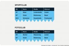 Abb. 3.4 Vereinigungsverträgliche Tabellen SPORT- und FOTOCLUB